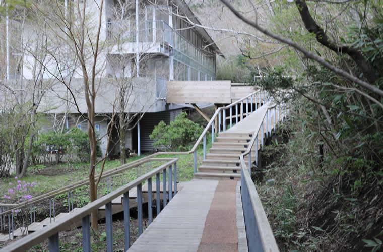 ホテル内の施設と施設を結ぶ森の小道