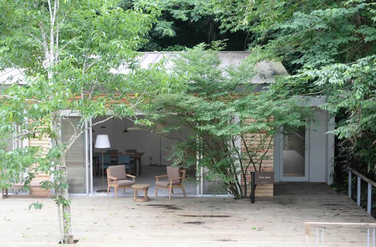 四季折々の自然と一体化した森の中のレクレーション広場