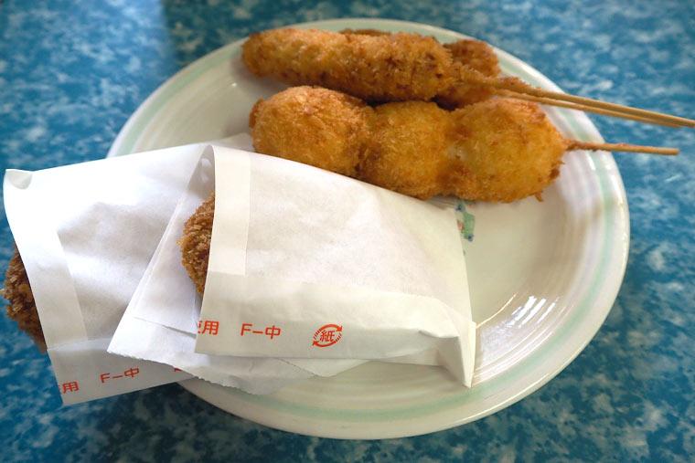 肉のさかもとの串カツとコロッケ