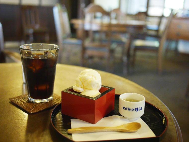 清酒アイスクリームと水出し珈琲のセット(1,000円)