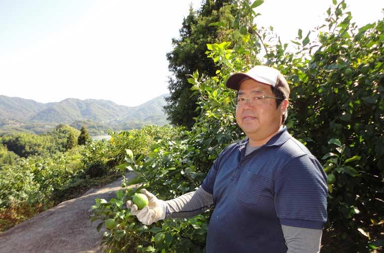 高根島でレモン畑を営む片山武志さん