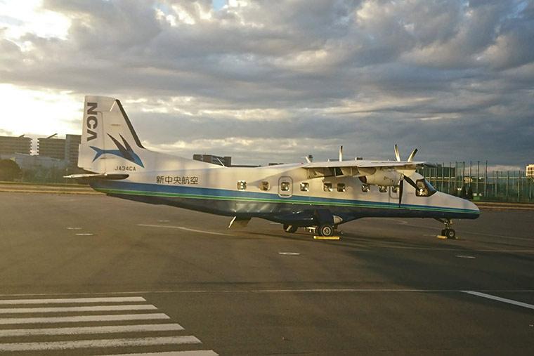 調布飛行場から式根島 飛行機