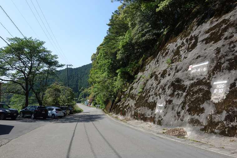 四万十川の山の斜面に刻まれた増水時の水位