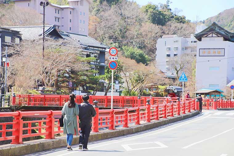 修善寺を歩くカップルの後ろ姿