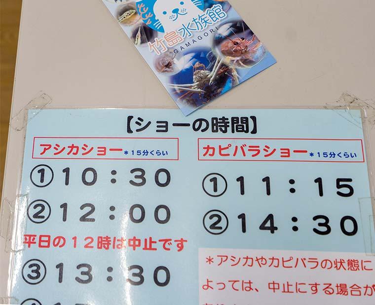 竹島水族館 アシカショー、カピバラショー