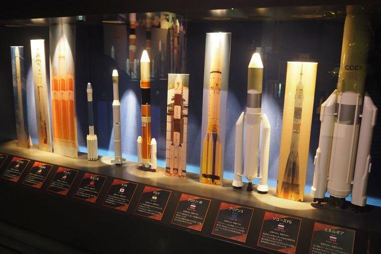 宇宙科学技術館のロケットについて学べるゾーン