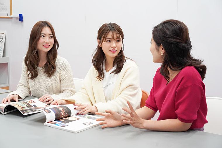 憧れホテル座談会、左から 竹内彩花さん、井口綾子さん、大野南香さん