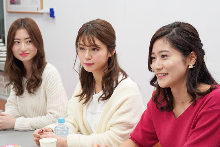 国内旅行座談会、左から 竹内彩花さん、井口綾子さん、大野南香さん