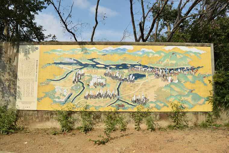 羽柴秀吉の天下取りの物語が描かれた陶板画