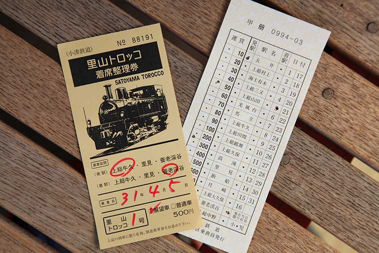 千葉 小湊鉄道のトロッコ列車  乗車には整理券