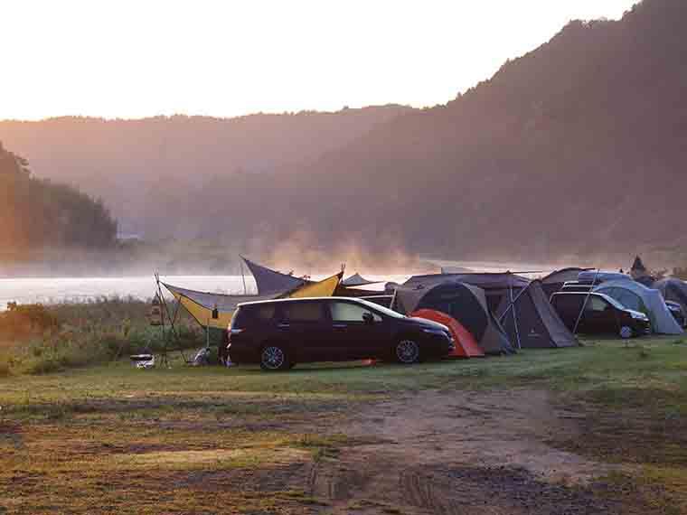 朝の河川敷サイト