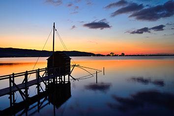 東郷湖の夕暮れ