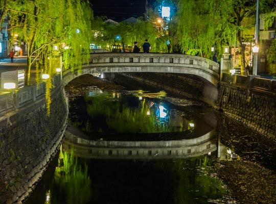 城崎温泉を流れる大谿川と柳