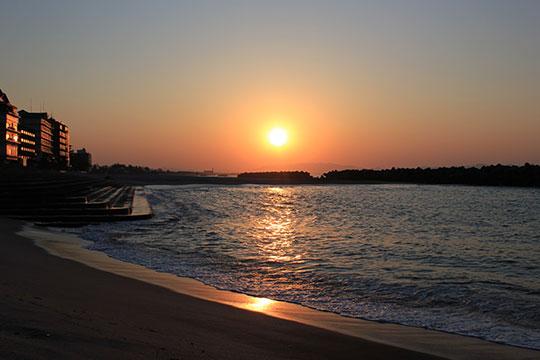 日本の夕陽100選「皆生海岸の夕陽」