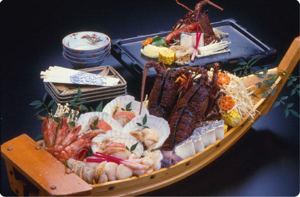 白浜温泉 民宿Aコース 食事例