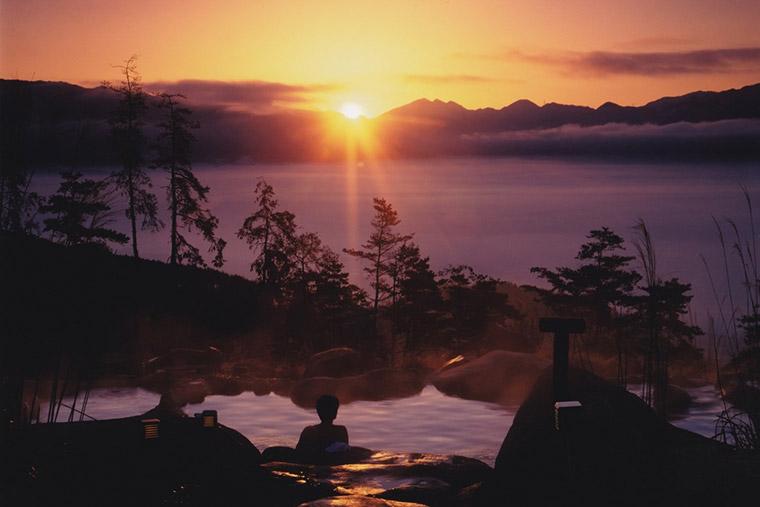 ほったらかし温泉から見える夕日