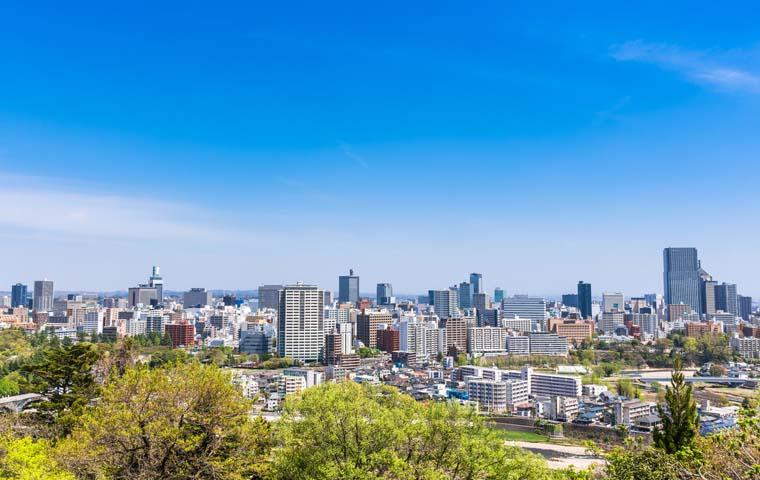 伊達政宗前から眺める仙台の町並み