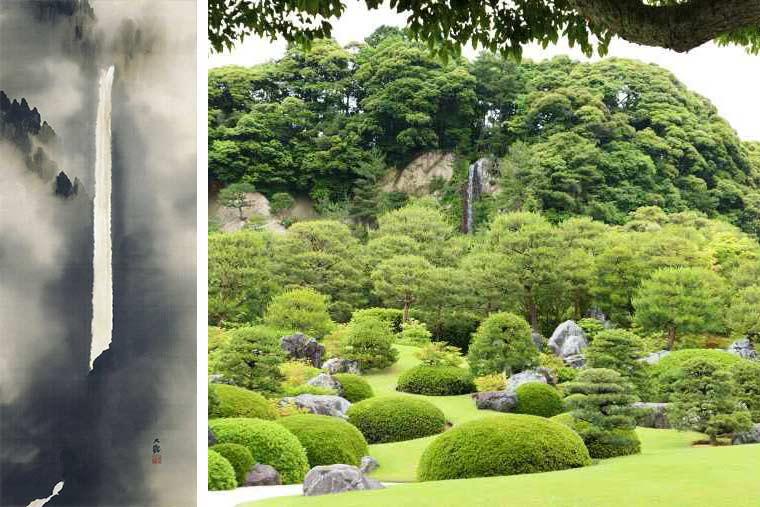 足立美術館の「亀鶴の滝」