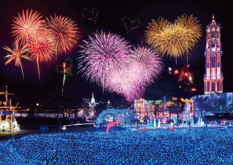 ハウステンボス 光の王国 光の街のクリスマス 花火