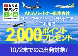 ANAパートナー航空会社ご利用で2,000ポイントキャンペーン