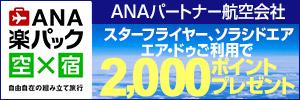 ANAパートナー航空会社ご利用で最大2,000ポイントキャンペーン