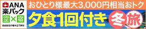 ANA楽パック 夕食1回付 冬旅(年末年始・冬休み 旅行)キャンペーン