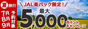 夏旅行対象最大5,000ポイント!