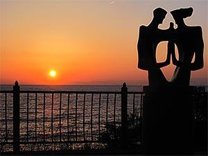 旅人岬の夕陽
