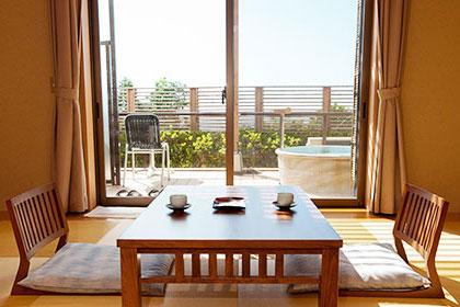 和室、洋室、露天風呂付和洋室などいろいろなお部屋をご用意しております