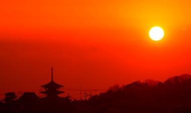 法隆寺の夕暮れ