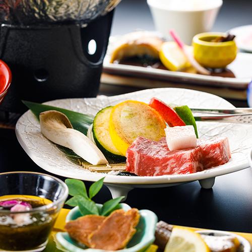 【国産牛の一口ステーキ】魚もいいけどお肉も食べたい!陶板ステーキ付プラン