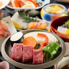 【ポイント10%】ジュジュッと♪牛一口ステーキ(陶板焼き)付会席★海の幸も♪お肉も♪大好き♪