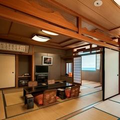 日本海一望の二間続きの特別室「月光213−GEKKOU-」でごゆっくり♪「鯛しゃぶ会席」