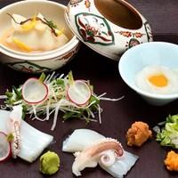【1月限定】≪料理長の旬一皿・夕食20,000円コース≫ヤリイカのお造りと、こっくりゆり根饅頭