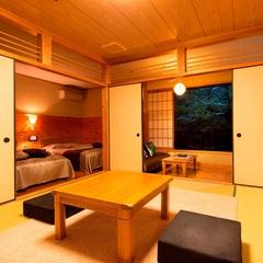 【ひのき風呂付き和洋室】 和室8畳+ツインベッド+ソファー