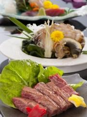 【三重ブランド】安乗産鮑の陶板踊り焼き&松阪牛サーロインステーキ付満腹プラン