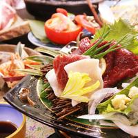 【グレードアップ】三大肉★ 鴨すき焼き × 馬刺し × 牛陶板焼  -特典付-[個室食]