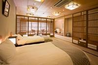 【錦帯橋側和室20畳】錦帯橋を望む和ベッド付きのお部屋