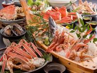 お一人様に一枚のアワビ陶板焼きと鮮魚舟盛りの圧巻!大ガニフルコースの贅沢海鮮三昧♪