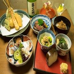 【カジュアル京都・鴨川を望むテラス席での夕食】先斗町・串エ門=京都の食の贅沢三昧=(Bコース)