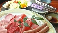茨城県民限定◆【ツーリング】走った後はログハウスと貸切風呂でのんびり♪茨城ブランド肉3種食べ比べ!