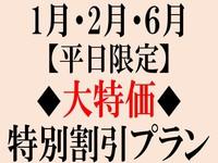 【平日限定】1月・2月・6月◆大特価◆特別割引プラン