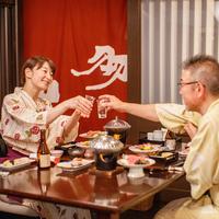 【前沢牛陶板焼付】隣接ホテルのお食事処で和食膳◆露天湯めぐり満喫