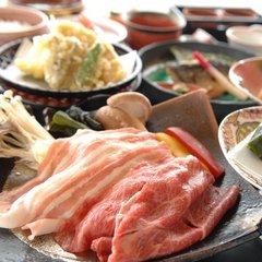 【前沢小形牧場牛&白金豚付】厳選グルメ お食事処で和食膳◆露天湯めぐり満喫