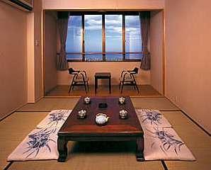 海の見える、太平洋に面した眺望抜群の和室「トイレ付き」