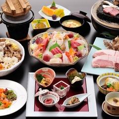 【グレードアップ】紅山桜会席コース〜お料理重視の方向け〜新潟県産牛溶岩焼&刺身鉢盛付で美味を堪能♪