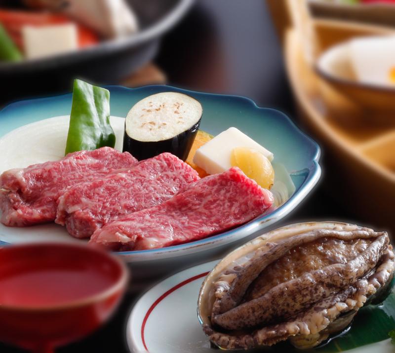 【能登の味覚SP】 選べる夕食!『和牛ステーキ』or『アワビ』、舟盛り付き♪