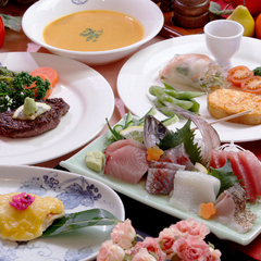 【HIKARI〜陽〜】伊豆牛ステーキと地魚お造り付&食べるスープ鶏飯【特典付】