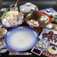 【個室食】フグ+伊勢海老+茹でタコ+鮑or知多牛!最高の『ふぐ』コースをあなたに☆[1泊2食付]