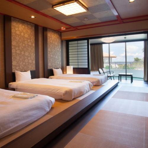 室数限定☆ベッド幅330センチ!琉球ルーム〜ぴったりベッドでお子様安心〜(朝食付)